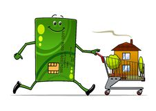 Cartoon credit card pushing a cart with house Royalty Free Stock Photos