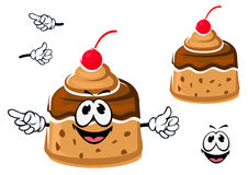 Cartoon creme caramel or custard pudding Royalty Free Stock Images