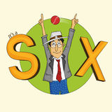 Cartoon of cricket umpire showing sixer. Royalty Free Stock Photography