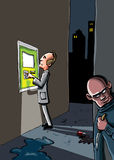 Cartoon of a crime that is about. To happen. A man at an ATM machine is being watched by a criminal with a knife Stock Image
