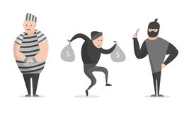 Cartoon Crime, Bandit, Thief Characters Icon Set. Vector. Cartoon Crime, Bandit, Thief Characters Icon Set Gangster Concept Element Flat Design Style. Vector Stock Photo