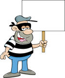 Cartoon criminal holding a sig Royalty Free Stock Image