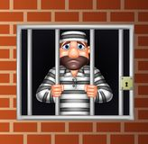 Cartoon criminal in jail Royalty Free Stock Image