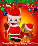 Cartoon cristmas boy and dog with gift boxes on red background. Vector illusnration Stock Photography