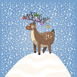 Cartoon cristmas dear on snow Royalty Free Stock Image