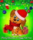 Cartoon cristmas dog with gift boxes on green background. Vector illustration Stock Photos