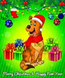 Cartoon cristmas dog with gift boxes on green background. Vector illustration Royalty Free Stock Images