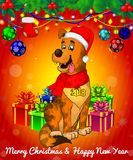 Cartoon cristmas dog with gift boxes on red background. All objects are drawn separately Royalty Free Stock Photography