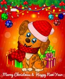 Cartoon Christmas dog with gift boxes on red background. Cartoon cristmas dog with gift boxes on red background. Vector illusnration Royalty Free Stock Images