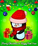 Cartoon cristmas penguin with gift boxes on green background. Vector illustration Stock Images