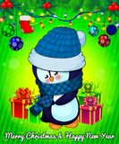Cartoon cristmas penguin with gift boxes on green background. Vector illustration Stock Photography