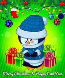Cartoon cristmas penguin with gift boxes on green background. Vector illustration Royalty Free Stock Image