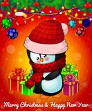 Cartoon cristmas penguin with gift boxes on red background. The file is editable. All objects are drawn separately Stock Photography