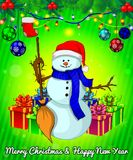 Cartoon cristmas snowman with gift boxes on green background. Vector illustration Stock Photos