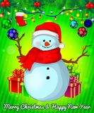 Cartoon cristmas snowman with gift boxes on green background. Vector illustration Stock Photo