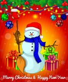 Cartoon cristmas snowman with gift boxes on red background. All objects are drawn separately Stock Images