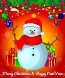Cartoon cristmas snowman with gift boxes on red background. All objects are drawn separately Royalty Free Stock Photos