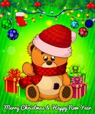Cartoon cristmas teddy bear with gift boxes on green background. Vector illustration Stock Image