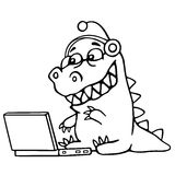 Cartoon croc played on laptop. Vector illustration. stock image