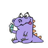 Cartoon croc wants ice cream. Vector illustration. royalty free stock photo