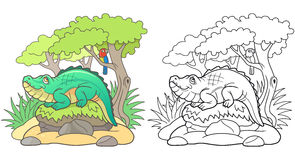 Cartoon crocodile basking in the sun Royalty Free Stock Images
