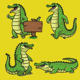 Cartoon crocodile character in set royalty free illustration