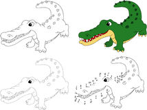 Cartoon crocodile. Coloring book and dot to dot game for kids Stock Images