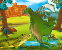 Cartoon crocodile with continent map Stock Photography