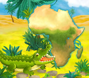 Cartoon crocodile with continent map Royalty Free Stock Image