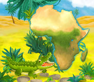 Cartoon crocodile with continent map Stock Images