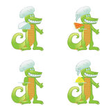 Cartoon crocodile cook Royalty Free Stock Photos