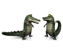 Cartoon crocodile couple. Stock Photos