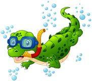 Cartoon crocodile diver. Illustration of Cartoon crocodile diver Royalty Free Stock Photos