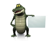 Cartoon crocodile holding blank sign. Stock Images