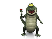 Cartoon crocodile holding roses. An adorable smiling friendly cartoon crocodile holding a few red roses in his hand. White background royalty free illustration