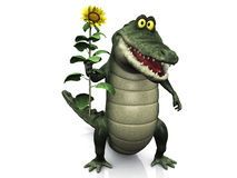 Cartoon crocodile holding sunflower. An adorable smiling friendly cartoon crocodile holding a big yellow sunflower in his hand vector illustration