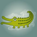 Cartoon crocodile illustration, cartoon illustration with kind c Stock Photography