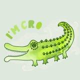 Cartoon crocodile illustration in watercolors, cartoon illustrat Royalty Free Stock Photography