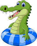 Cartoon crocodile with inflatable ring stock illustration