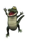 Cartoon crocodile jumping for joy. Stock Photos