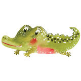 Cartoon crocodile. Smiling crocodile cartoon drawing by watercolor Royalty Free Stock Photography