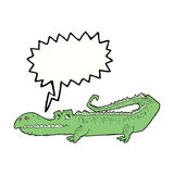 Cartoon crocodile with speech bubble Royalty Free Stock Images