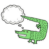 Cartoon crocodile with thought bubble Royalty Free Stock Images