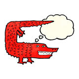 Cartoon crocodile with thought bubble Royalty Free Stock Photos
