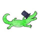 cartoon crocodile in top hat Stock Photo