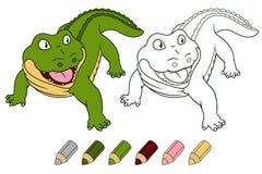 Cartoon crocodile Vector coloring book illustration. Royalty Free Stock Photos