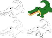 Cartoon crocodile. Vector illustration. Dot to dot game for kids. Cartoon crocodile. Dot to dot educational game for kids. Vector illustration royalty free illustration