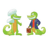 Cartoon crocodiles cook and businessman Royalty Free Stock Image
