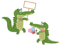 Friendly Cartoon Crocodiles Illustrations Set Stock Photos