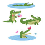 Cartoon Crocodiles on Nature Isolated Illustration Stock Photos